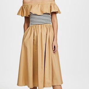 English Factory Long Dress Tan w/ Stripes NWT